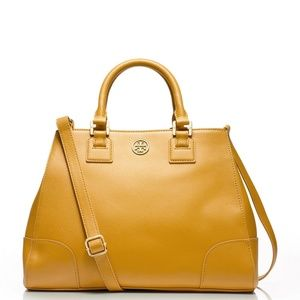 TORY BURCH Robinson Triangle Tote Honey Mustard